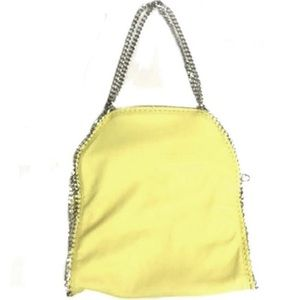 Silver Chain Edge Buttery Yellow Shoulder Bag/Clut